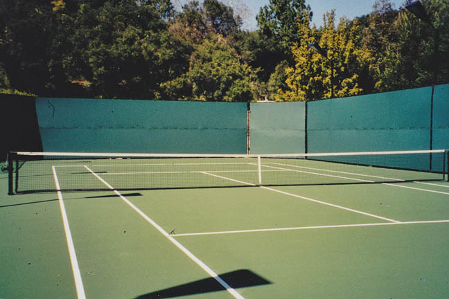 Backyard Tennis Court and Fencing